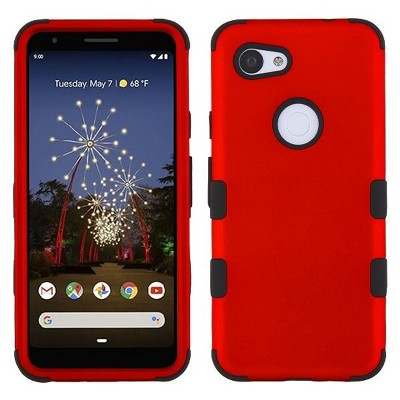 MYBAT For Google Pixel 3A Red Black Tuff Hard TPU Hybrid Titanium Case Cover