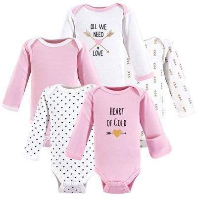 Hudson Baby Infant Girl Cotton Preemie Long-Sleeve Bodysuits 5pk, Heart, Preemie