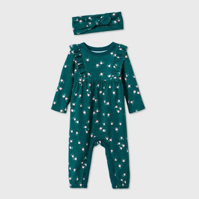 Baby Girls' Ruffle Jersey Romper with Headband - Cat & Jack™ Green Newborn