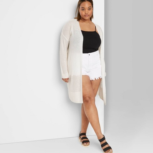 Women's Plus Size Long Sleeve Lightweight Duster Cardigan - Wild Fable™ Ivory - image 1 of 3