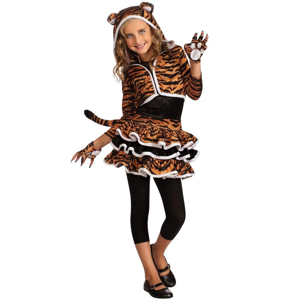 Image of Halloween Girls' Tigress Hoodie Halloween Costume L, Girl's, Size: Large, MultiColored