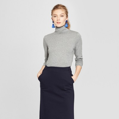 Women's Long Sleeve Fitted Turtleneck - A New Day™ Heather Gray XS
