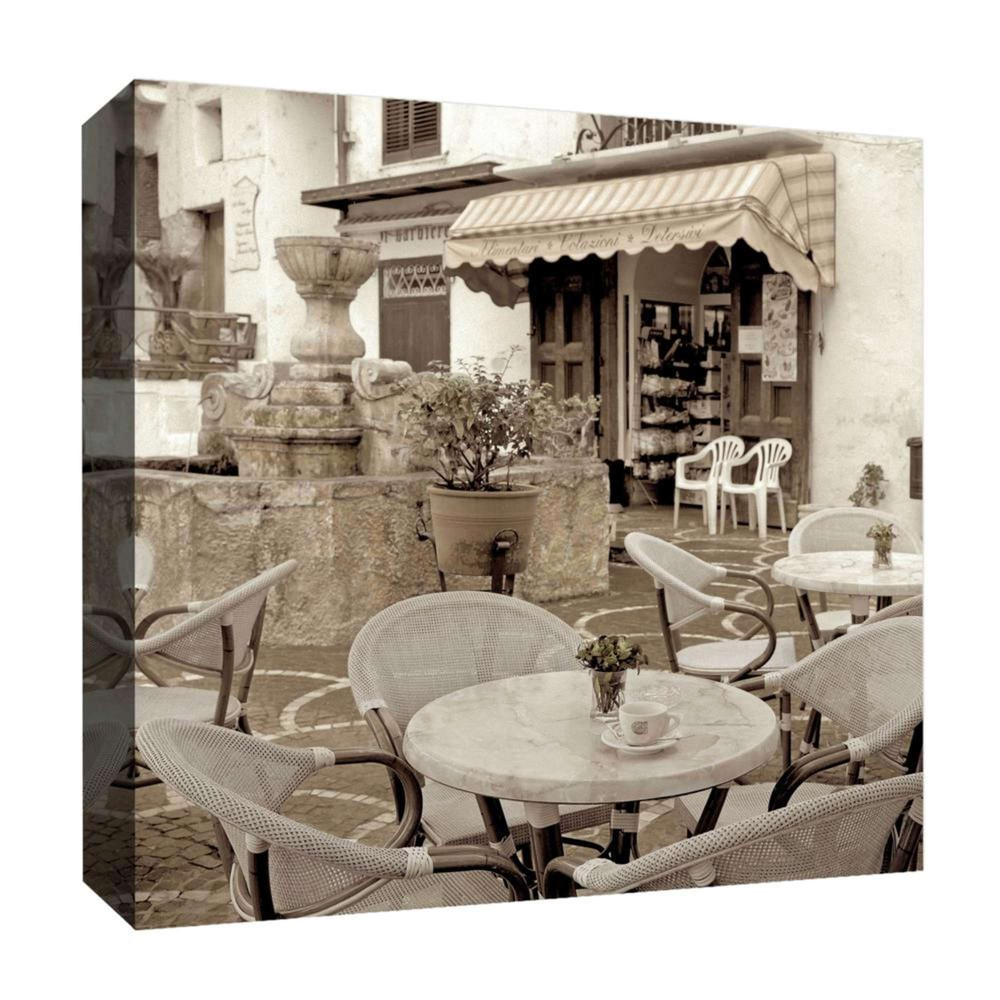 "Image of ""Fountain Coffee Decorative Canvas Wall Art 16""""x16"""" - PTM Images"""