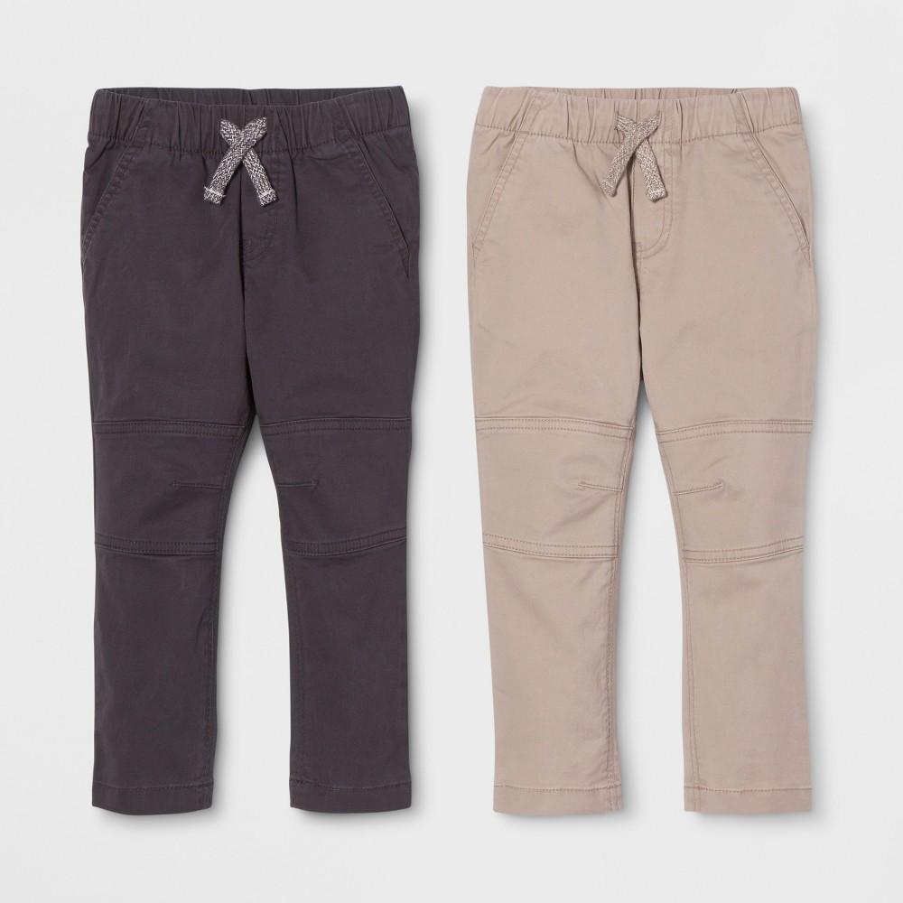Toddler Boys' Straight Fit 2pk Pull-On Pants - Cat & Jack Black/Khaki 18M, Beige