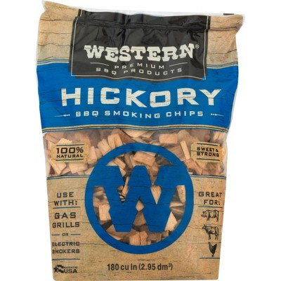 6 Pack Western Premium BBQ 180 Cubic Inch Hickory Barbecue Flavorful Heat Treated Grilling Smoking Wood Chips for Charcoal Gas and Electric Grills