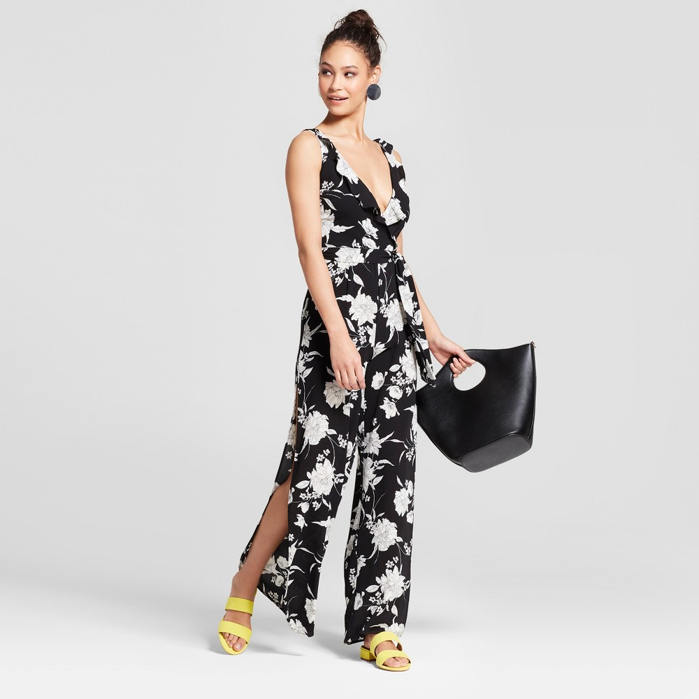 Women's Floral Print Ruffle Front Jumpsuit - Necessary Objects Black S