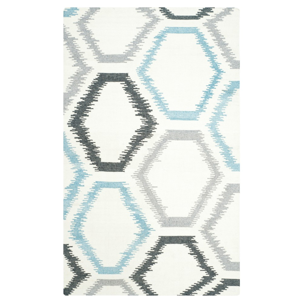 Dhurries Rug - Ivory/Multi - (5'x8') - Safavieh, White