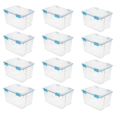 Sterilite 54 Quart Clear Plastic Stacking Storage Container Box (12 Pack)