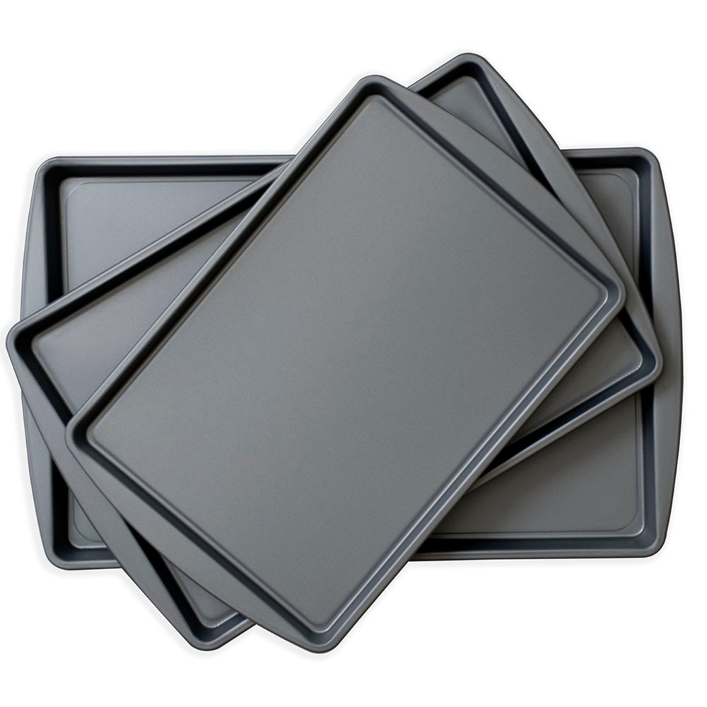 OvenStuff Non-Stick Set of Three Cookie Pans, Gray