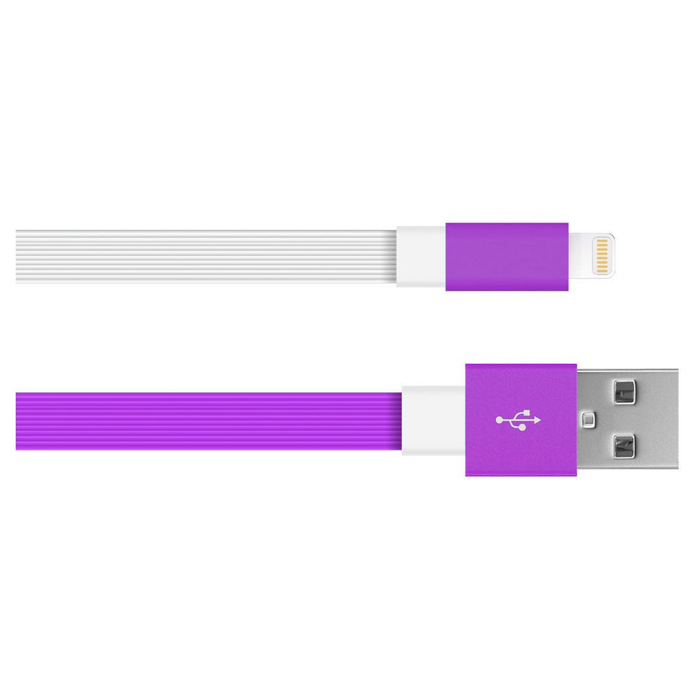 6 Iphone Charging Cable 8 Pin Flat Tpe Purple White