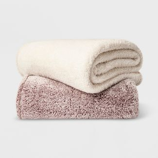 Full/Queen Fuzzy Bottom Printed Blanket Hot Coffee - Threshold™