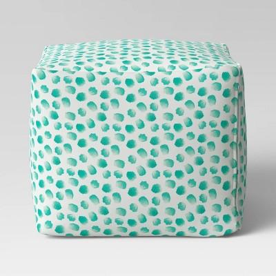 Pouf Ottoman DuraSeason Fabric™ Aqua Dots - Opalhouse™
