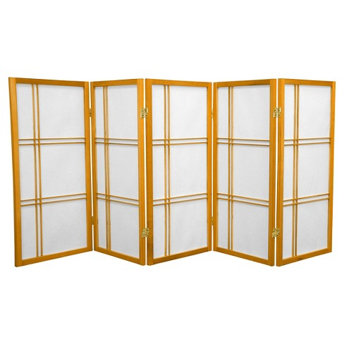 3 ft. Tall Double Cross Shoji Screen - Honey (5 Panels) - Oriental Furniture - image 1 of 1