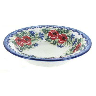 Blue Rose Polish Pottery Cherry Red Bouquet Soup Plate with Rim