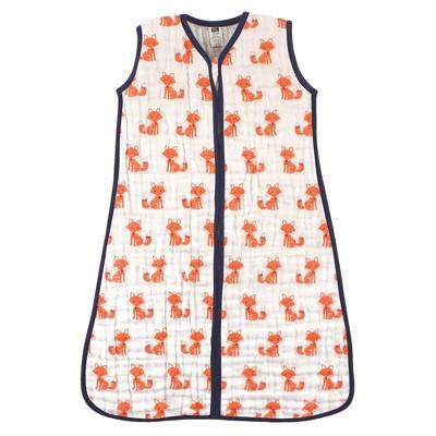 Hudson Baby Infant Boy Muslin Cotton Sleeveless Wearable Sleeping Bag, Sack, Blanket, Foxes