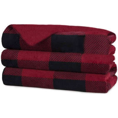 Sunbeam Heated Electric Fleece Throw Comforter Blanket with Controller, Auto Off Setting, Thermofine Wiring, and 3 Heat Settings, Red Plaid
