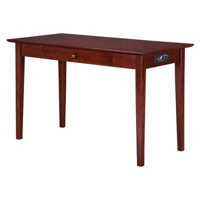 Writing Desk Shaker Style USB Charger Walnut - Atlantic Furniture