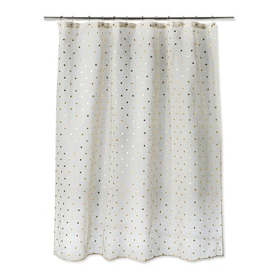 Polka Dots Shower Curtain Natural