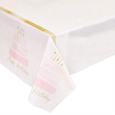 """Sparkle and Bash 3-Pack Happy Birthday Cake Disposable Plastic Table Covers Tablecloth Party Supplies 54""""×108"""""""