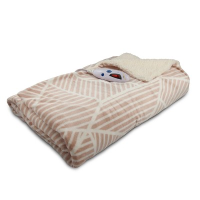 Velour With Sherpa Electric Throw 62 x50  Blush/Cream - Biddeford Blankets