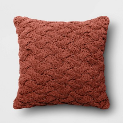 "18""x18"" Square Chunky Knit Throw Pillow Rust - Threshold™"