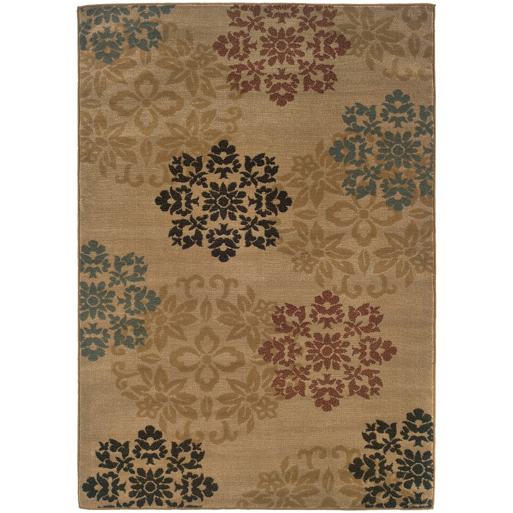 "Image of ""1'10""""X2'10"""" Cornado Floating Flowers Rug Gold/Red, Size: 1'10""""X2'10"""""""