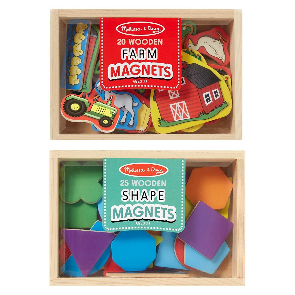 Melissa & Doug Wooden Magnets Set - Shapes and Farm (45pc) Easy to position and reposition on any magnetic surface, these shaped wooden magnets are a playful tool for hands-on exploration of key early learning concepts. Featuring 25 shape magnets and 20 farm magnets, this brightly colored collection naturally encourages sorting, matching, fine motor skills, and hand-eye coordination. Each set (Shapes and Farm) is housed in a sturdy wooden case with a see-through, slide-shut lid. Gender: Unisex.