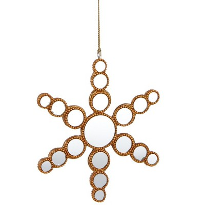"""Ganz 6.25"""" Glamour Time Beaded Mirrored Circles Snowflake Christmas Ornament - Gold"""