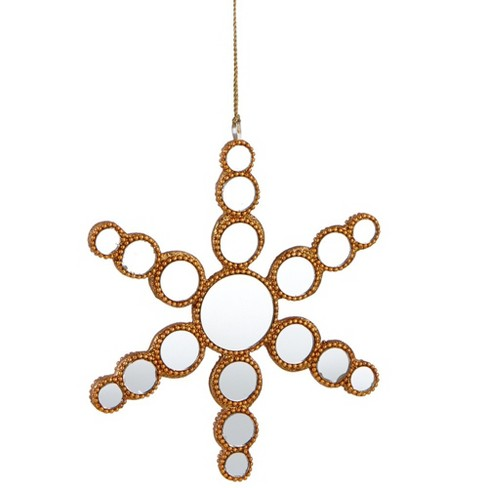 Ganz 6 25 Glamour Time Beaded Mirrored Circles Snowflake Christmas Ornament Gold Target