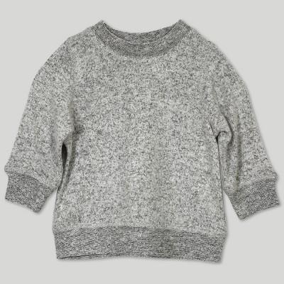 Afton Street Baby Girls' Hacci Long Sleeve Sweatshirt - Gray 0-3M