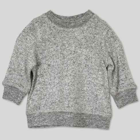 90dc61374744 Afton Street Baby Girls  Hacci Long Sleeve Sweatshirt - Gray   Target
