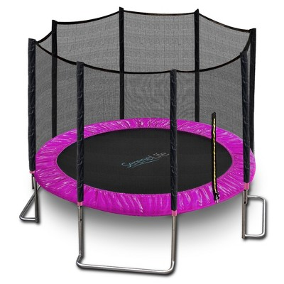 SereneLife 10 Foot Outdoor Backyard Play Trampoline and Safety Protective Dual Closure Net Enclosure for Kids Supports Weight Up To 352 Pounds, Pink