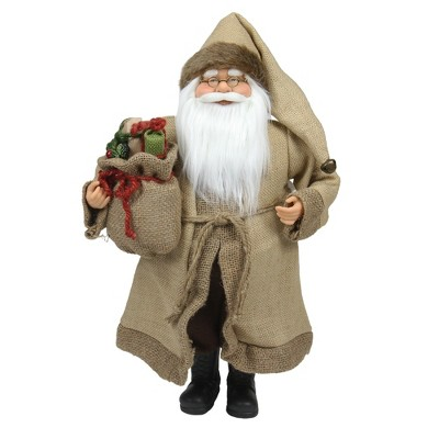 """Northlight 18.25"""" Brown and White Santa Claus with Bag Christmas Figurine"""