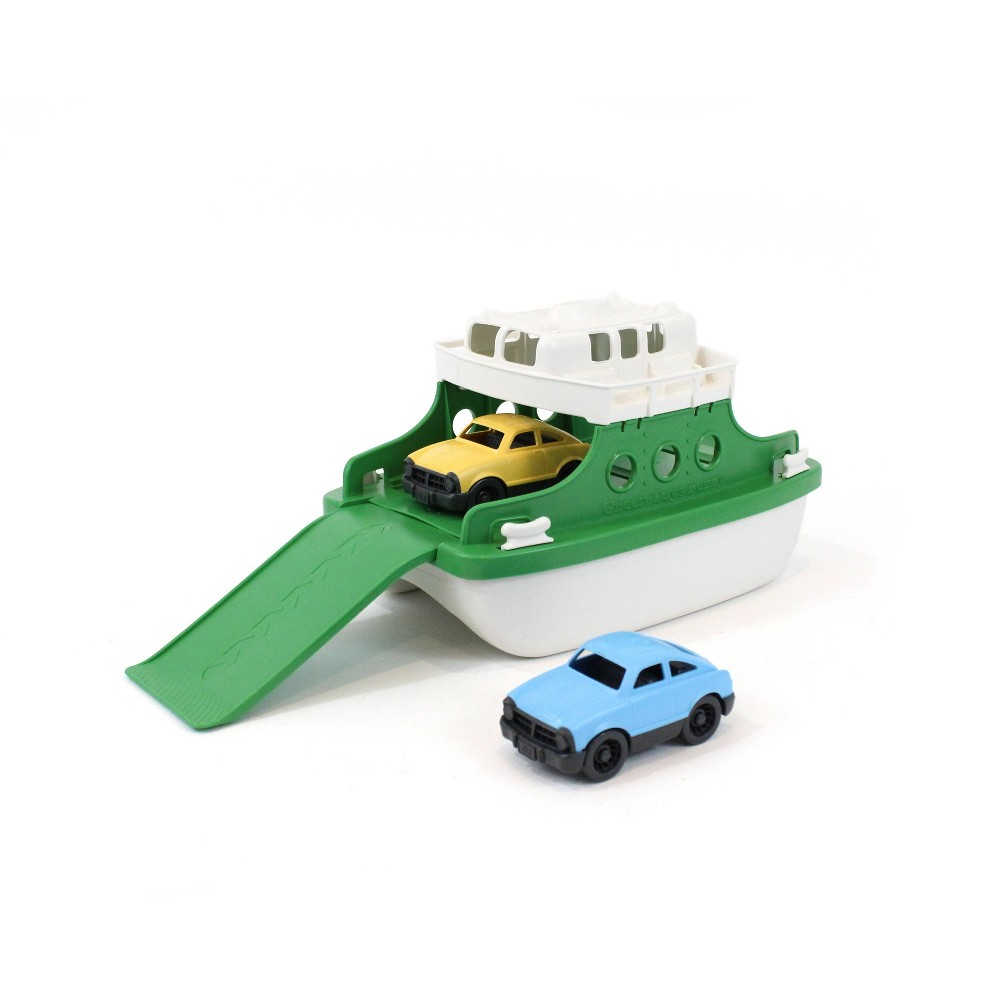 Green Toys Ferry Boat with Mini Cars Bath Toy - White/Green
