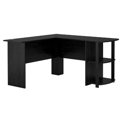Fieldstone Wood L Shaped Computer Desk with Storage Black - Room & Joy