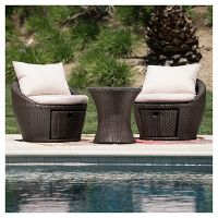 Christopher Knight Home Porto Fino 3-Piece All-Weather Wicker Patio Chair Set (Brown)