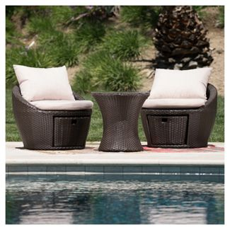 Porto Fino 3pc All-Weather Wicker Patio Chair Set - Brown - Christopher Knight Home