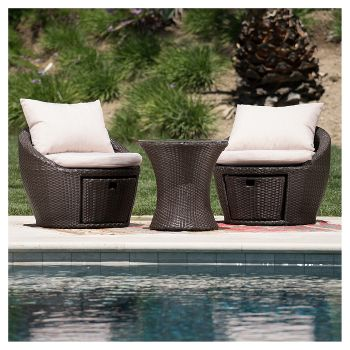 Christopher Knight Home 3-Piece All-Weather Wicker Patio Chair Set