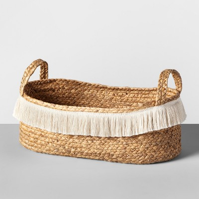 18  x 6  Water Hyacinth Fringe Oval Basket Natural - Opalhouse™