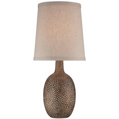 360 Lighting Rustic Accent Table Lamp Antique Bronze Hammered Texture Natural Beige Linen Shade for Living Room Family Bedroom