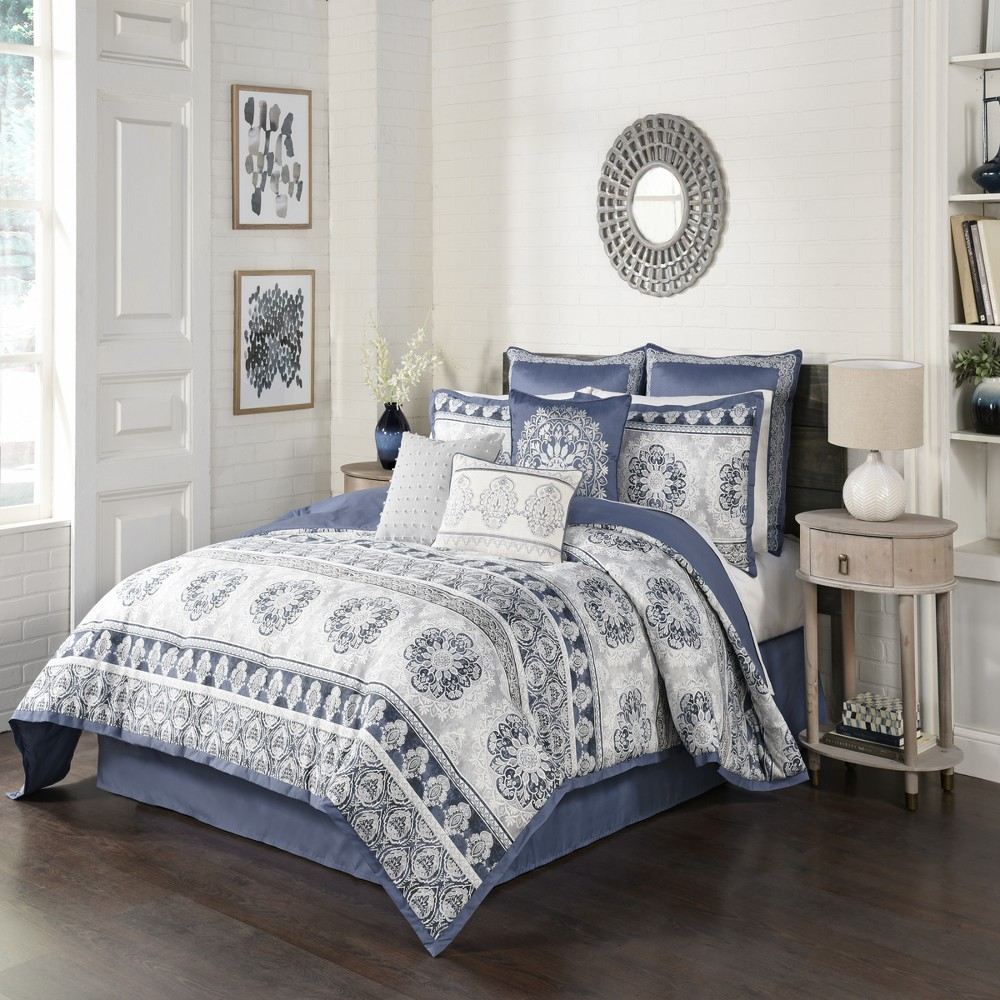 Image of 4pc King Medallion Indochine Comforter Set Blue - Beautyrest