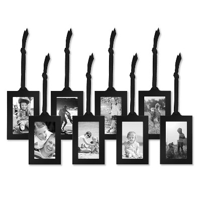 """Americanflat Picture Frames in Black Metal with Adjustable Ribbon Tassels - 2"""" x 3"""""""