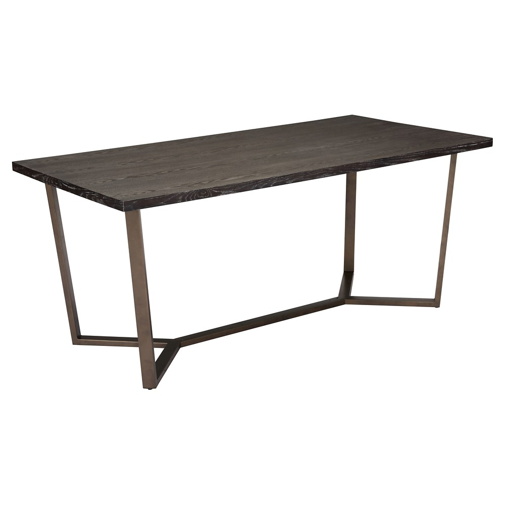 Modern Industrial 70 Dining Table - Gray Oak/Antique Brass - ZM Home, Gray Oak And Antique Brass