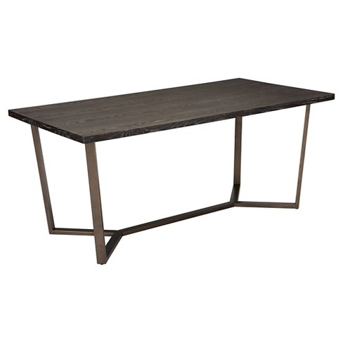 "Modern Industrial 70"" Dining Table - Gray Oak/Antique Brass - ZM Home - image 1 of 1"