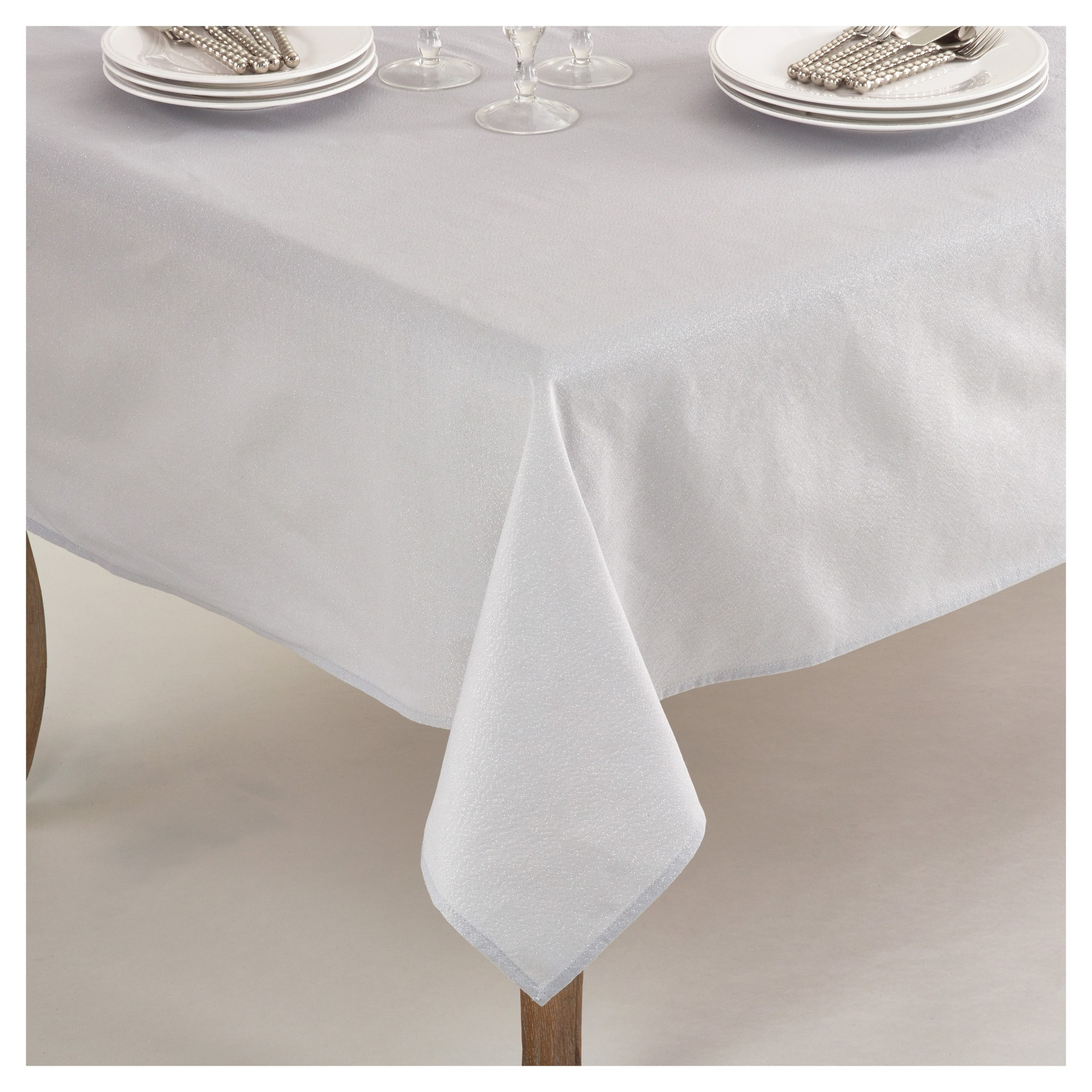 Silver Elegant Shimmer Classic Tablecloth (70) - Saro Lifestyle, Soft Silver