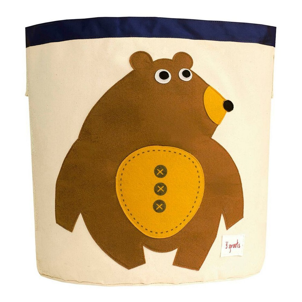 Image of Extra Large Round Bear Canvas Kids Toy Storage Bin - 3 Sprouts
