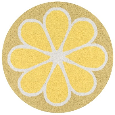 3' Fruit Hooked Round Accent Rug Yellow - Novogratz By Momeni