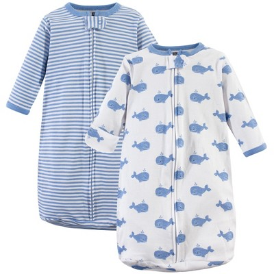 Hudson Baby Infant Boy Cotton Long-Sleeve Wearable Sleeping Bag, Sack, Blanket, Blue Whales