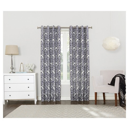 57b22acf48278 Sun Zero Cynthia Woven Damask Blackout Lined Grommet Curtain Panel ...