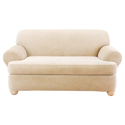 Stretch Stripe 2pc T-Loveseat Slipcover Sure Fit - image 1 of 2